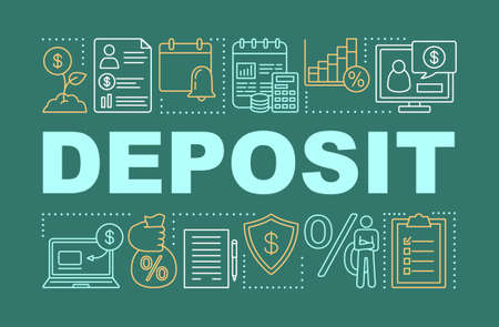 Deposit & investment word concepts banner. Savings, capital formation. Banking account. Presentation, website. Isolated lettering typography idea with linear icons. Vector outline illustration