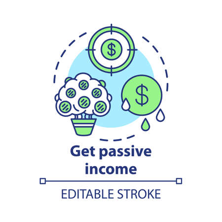 Get passive income concept icon. Savings idea thin line illustration. Getting interest, percentage from investment, deposit. Gaining residual profits. Vector isolated outline drawing. Editable stroke 版權商用圖片 - 130214991