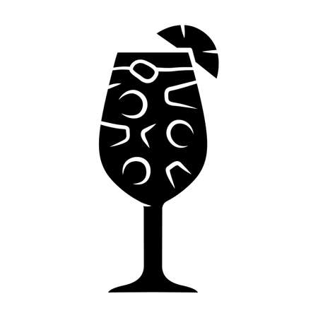 Sangria glyph icon. Footed glass with drink and pieces of fruit. Easy Spanish alcoholic cocktail drink. Punch with wine and juice. Silhouette symbol. Negative space. Vector isolated illustration Stock Illustratie
