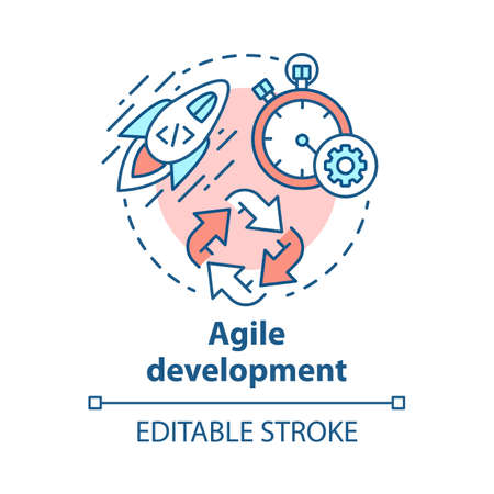 Agile development concept icon. Short term teamwork. Strategic management. Software programming cycle. Start IT project idea thin line illustration. Vector isolated outline drawing. Editable stroke