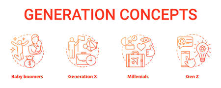 Generation red concept icons set. Age groups idea thin line illustrations. Baby boomers. Classic lifestyle. Generation X. Peer groups. Vector isolated outline drawings. Gen Z and millennials