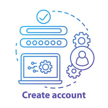 Erstellen Sie ein blaues Konzeptsymbol für das Konto. Dünne Linie Illustration der Idee der Netzwerkprofilregistrierung. Erstellung einer neuen Benutzerwebseite. Abonnement der Website. Online-Autorisierung. Vektor isolierte Umrisszeichnung