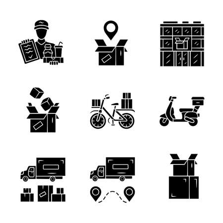 Delivery glyph icons set. Parcel tracking, post office, cardboard box, order packing. Heavy goods shipping truck. Scooter, bicycle delivery. Silhouette symbols. Vector isolated illustration Archivio Fotografico - 130215393