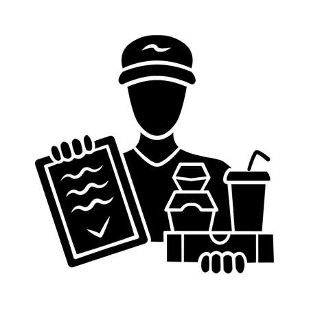 Food delivery glyph icon. Express courier service. Deliveryman holding takeaway fast food and invoice. Restaurant, cafe order delivering. Silhouette symbol. Negative space Vector isolated illustration Vektorové ilustrace