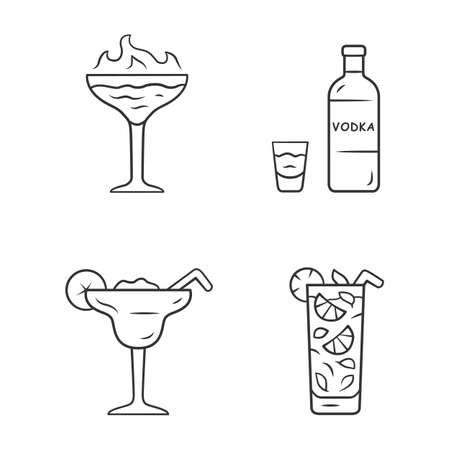 Drinks linear icons set. Flaming shot, margarita, mojito, vodka. Glasses with beverages, bottle. Mixes and soft drink. Thin line contour symbols. Isolated vector outline illustrations. Editable stroke 向量圖像