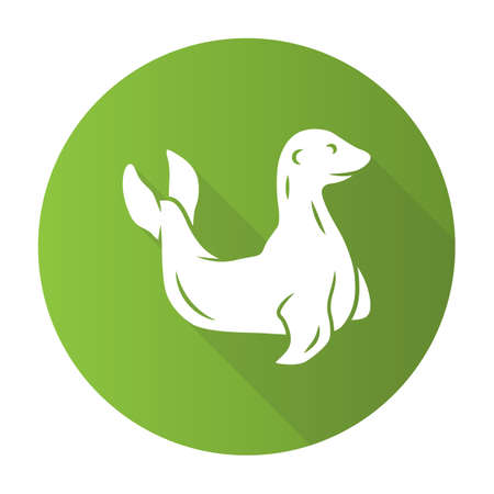 Seal green flat design long shadow glyph icon. Pinniped mammal. Antarctic sea lion. Oceanography and zoology. Aquatic ocean animal with flippers. Wildlife creature. Vector silhouette illustration