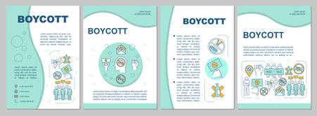 Boycott brochure template layout. Consumer activism flyer, booklet, leaflet print design with linear illustrations. Protest vector page layouts for magazines, annual reports, advertising posters