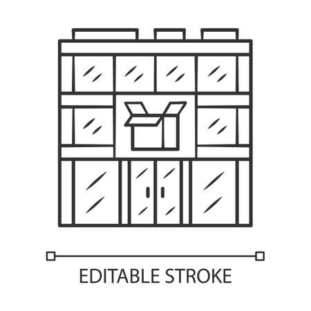 Post office building linear icon. Thin line illustration. Postal warehouse facilities. Delivery office. Order shipping. Shipment service. Parcel storage. Vector isolated drawing. Editable stroke Archivio Fotografico - 130215913