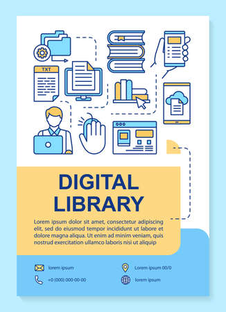 Digital library poster template layout. Banner, booklet, leaflet print design with linear icons. Online e-library. Ebook reading app. Vector brochure page layouts for magazines, advertising flyers