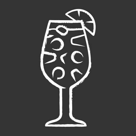 Sangria chalk icon. Footed glass with drink, pieces of fruit. Easy traditional Spanish alcoholic cocktail. Summer refreshing drink. Punch with wine and juice. Isolated vector chalkboard illustration