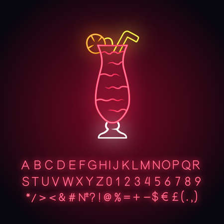 Cocktail in hurricane glass neon light icon. Refreshing alcohol drink for party. Tumbler with beverage, lemon, straw. Glowing sign with alphabet, numbers and symbols. Vector isolated illustration