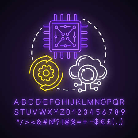Functionality testing neon light concept icon. Black-box testing. Setting up system. Working with network services idea. Glowing sign with alphabet, numbers and symbols. Vector isolated illustration