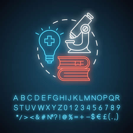 Pharmacy neon light concept icon. Pharmaceutical research idea. New drugs, treatment methods discovery. Glowing sign with alphabet, numbers and symbols. Vector isolated illustration