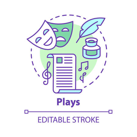 Plays concept icon. Drama theatre & screenplay idea thin line illustration. Theatrical script & musical accompaniment. Classic literature. Vector isolated outline drawing. Editable stroke