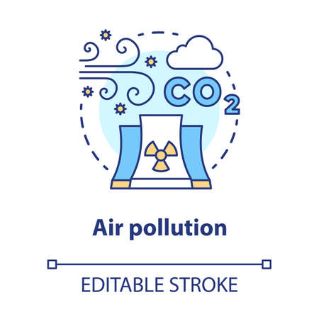 Air pollution concept icon. Atmosphere & industrial waste contamination idea thin line illustration. CO2, smog emission. Gas polluted urban areas. Vector isolated outline drawing. Editable stroke