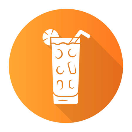 Cocktail in highball glass orange flat design long shadow glyph icon. Summer icy refreshing soft drink with slice of lemon and straw. Tumbler with gin and tonic. Vector silhouette illustration