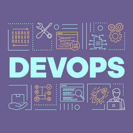 DevOps word concepts banner. Binary system. Presentation, website. Isolated lettering typography idea with linear icons. Software development and operations collaboration. Vector outline illustration