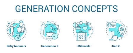 Set di icone di concetto di generazione. I gruppi di età ideano illustrazioni a linee sottili. Baby boomer. Generazione X. Gruppi di pari. Generazione Z e millennial. Disegni vettoriali isolati di contorno. Tratto modificabile
