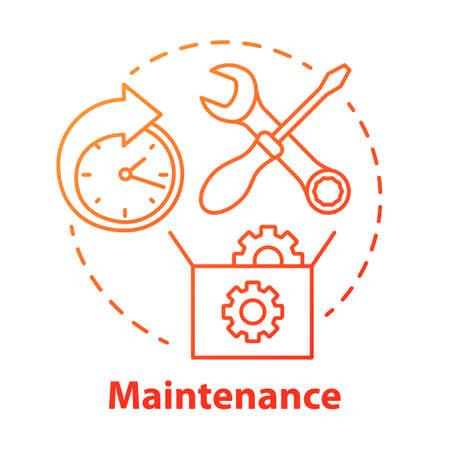 Symbol für das Wartungskonzept. Werkstatt rund um die Uhr. Einrichtung der Ausrüstung. Instandsetzung. Die Unterstützung. Garantie-Service-Idee dünne Linie Abbildung. Vektor isolierte Umrisszeichnung