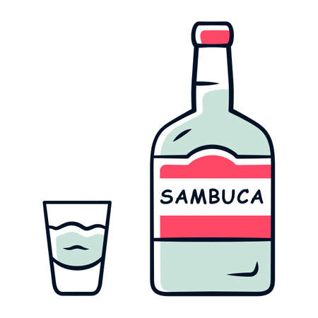 Sambuca grey color icon. Bottle and shot glass with drink. Italian anise-flavoured liqueur. Alcoholic beverage consumed for cocktails, straight. Isolated vector illustration Illustration