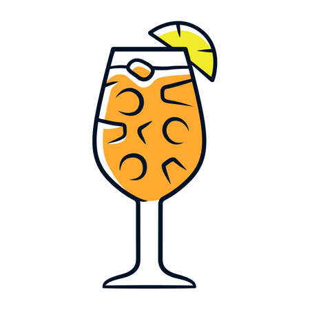 Sangria orange color icon. Footed glass with drink and pieces of fruit. Easy traditional Spanish alcoholic cocktail. Summer refreshing drink. Punch with wine and juice. Isolated vector illustration