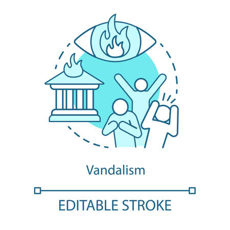 Vandalism concept icon. Civil unrest, property destruction, mob violence idea thin line illustration. Aggressive crowd, burning house and flaming eye vector isolated outline drawing. Editable stroke