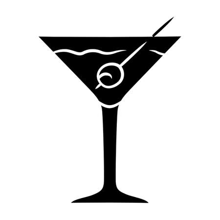 Martini glyph icon. Footed glass with drink and olive. Cocktail with gin and vermouth. Alcoholic beverage. Tumbler with mixed drink. Silhouette symbol. Negative space. Vector isolated illustration