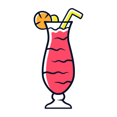 Cocktail in hurricane glass red color icon. Refreshing alcohol drink for party. Tumbler with tall beverage, slice of lemon, straw. Mixed liquid with rum and fruit juice. Isolated vector illustration 向量圖像