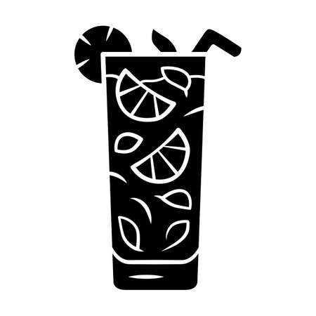 Moxito glyph icon. Mojito cocktail in highball glass slice of citrus and straw. Mixed drink with mint and lemon. Silhouette symbol. Negative space. Vector isolated illustration