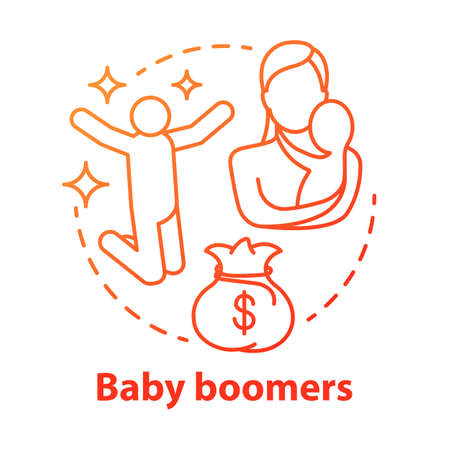 Baby boomers red concept icon. Generation idea thin line illustration. Mature people lifestyle. Material prosperity. Life goals and purposes. Motherhood. Vector isolated outline drawing Illustration