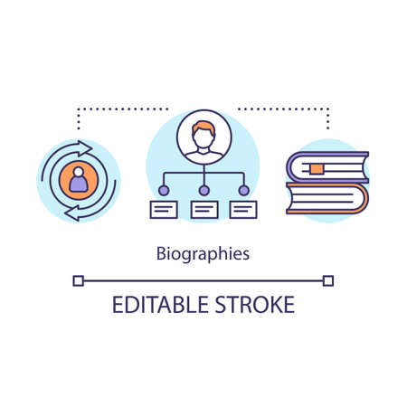Biographies concept icon. Memoir idea thin line illustration. Life history written in book. Personal life information, literature genre. Vector isolated outline drawing. Editable stroke