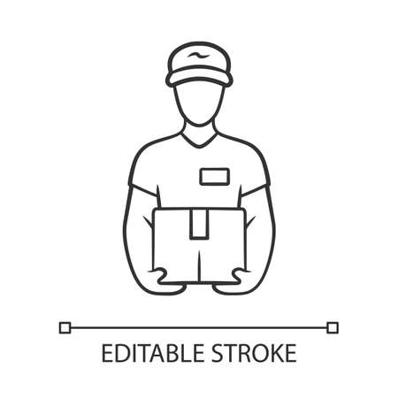 Deliveryman with parcel linear icon. Courier holding cardboard box. Postman with package. Delivery, postal service. Express shipping. Contour symbol. Vector isolated outline drawing. Editable stroke