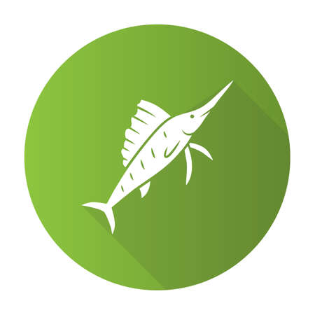 Sailfish green flat design long shadow glyph icon. Swimming fish with sharp long nose. Undersea swordfish animal. Fishing. Aquatic creature. Marine nature. Ocean fauna. Vector silhouette illustration Illustration