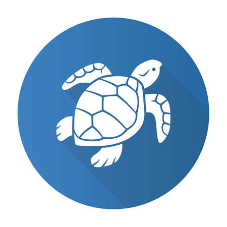 Turtle blue flat design long shadow glyph icon. Slow moving reptile with scaly shell. Underwater aquatic animal. Swimming ocean creature. Oceanography and zoology. Vector silhouette illustration Illustration