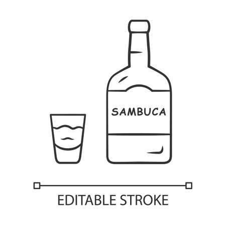 Sambuca linear icon. Bottle and shot glass with drink. Italian anise-flavoured liqueur. Alcoholic beverage. Thin line illustration. Contour symbol. Vector isolated outline drawing. Editable strok