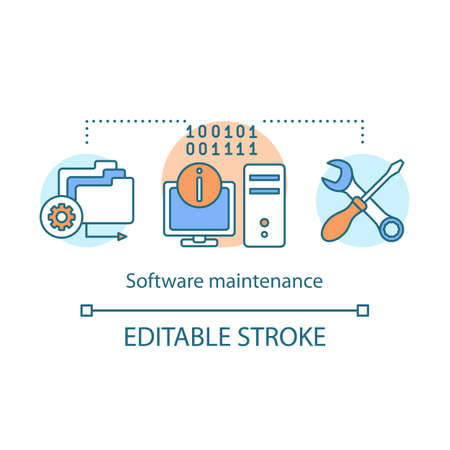 Software maintenance concept icon. Fixing program defects, correct faults. Computer repair, operating system installation idea thin line illustration. Vector isolated outline drawing. Editable stroke