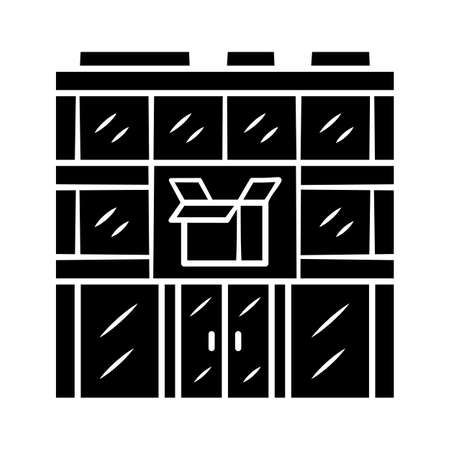 Post office building glyph icon. Postal warehouse facilities. Delivery office. Order shipping. Shipment service. Parcel storage. Silhouette symbol. Negative space. Vector isolated illustration Archivio Fotografico - 130225393