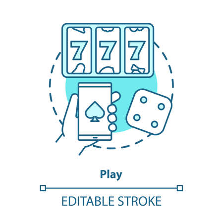 Play concept icon. Slots machine, one armed bandit games idea thin line illustration. Gambling addiction. Games of chance. Mobile casino and betting. Vector isolated outline drawing. Editable stroke