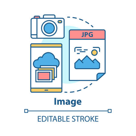 Image concept icon. Visual information idea thin line illustration. Pictures and photos. Files storage. Albums, photobooks and collages. Photographing. Vector isolated outline drawing. Editable stroke Иллюстрация