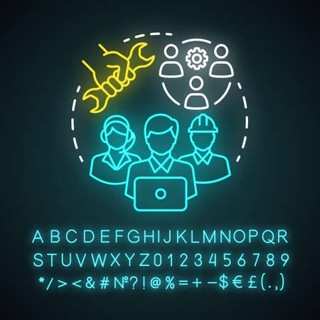 Technical team neon light concept icon. Company staff, workforce idea. Software engineers and client service workers. Technical personnel. Glowing alphabet, numbers. Vector isolated illustration