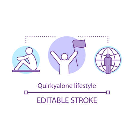 Quirkyalone lifestyle concept icon. Spending time alone idea thin line illustration. Preferring singleness, remain single, singlehood. Vector isolated outline drawing. Editable stroke