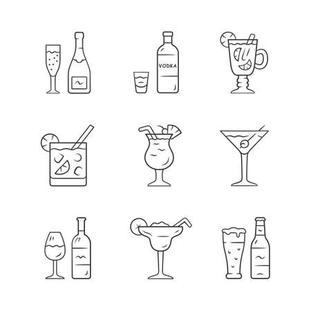 Drinks linear icons set. Alcohol drinks card. Vodka, hot toddy, wine, beer, martini, margarita, pina colada. Thin line contour symbols. Isolated vector outline illustrations. Editable stroke Vecteurs