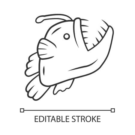 Anglerfish linear icon. Swimming goosefish. Ocean monster, undersea animal with open mouth. Marine predator. Thin line illustration. Contour symbol. Vector isolated outline drawing. Editable stroke