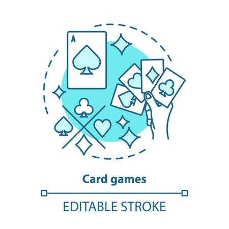 Card games concept icon. Poker & blackjack idea thin line illustration. Playing cards suits, aces. Gambling, games of chance. Casino. Vector isolated outline drawing. Editable stroke