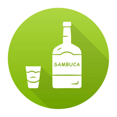 Sambuca green flat design long shadow glyph icon. Bottle and shot glass with drink. Italian anise-flavoured liqueur. Alcoholic beverage consumed for cocktails, straight. Vector silhouette illustration Illustration