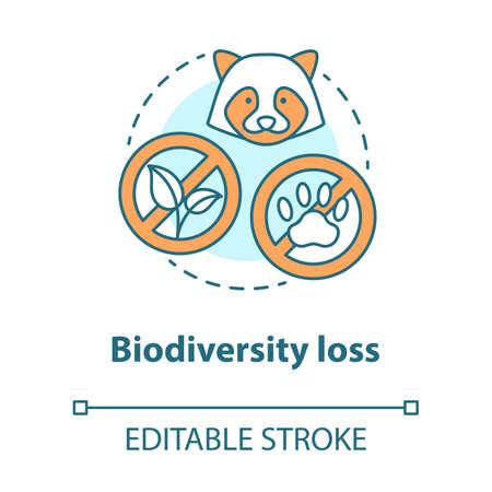 Icono del concepto de pérdida de biodiversidad. Desaparición de plantas y animales de la ilustración de línea fina de idea de planeta. Especies en extinción. Dibujo de contorno aislado del vector. Trazo editable