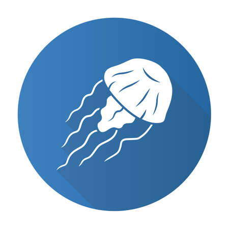 Jellyfish blue flat design long shadow glyph icon. Swimming medusa. Ocean underwater wildlife. Aquatic floating animal. Toxic invertebrate jelly fish with tentacles. Vector silhouette illustration