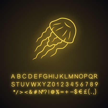 Jellyfish neon light icon. Swimming medusa. Ocean wildlife. Aquatic floating animal. Toxic jelly fish with tentacles. Glowing sign with alphabet, numbers and symbols. Vector isolated illustration
