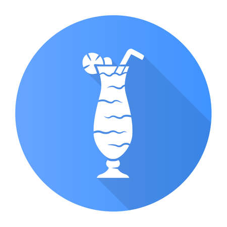 Cocktail in hurricane glass blue flat design long shadow glyph icon. Tumbler with tall beverage, slice of lemon and straw. Mixed alcohol drink with rum and fruit juice. Vector silhouette illustration 向量圖像