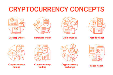 Cryptocurrency red concept icons set. Digital asset idea thin line illustrations. Desktop, hardware wallet. Financial transaction. Bitcoin exchange. Vector isolated outline drawings